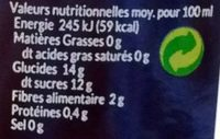 Thomas le Prince nectar d'abricot bouteille verre - Nutrition facts