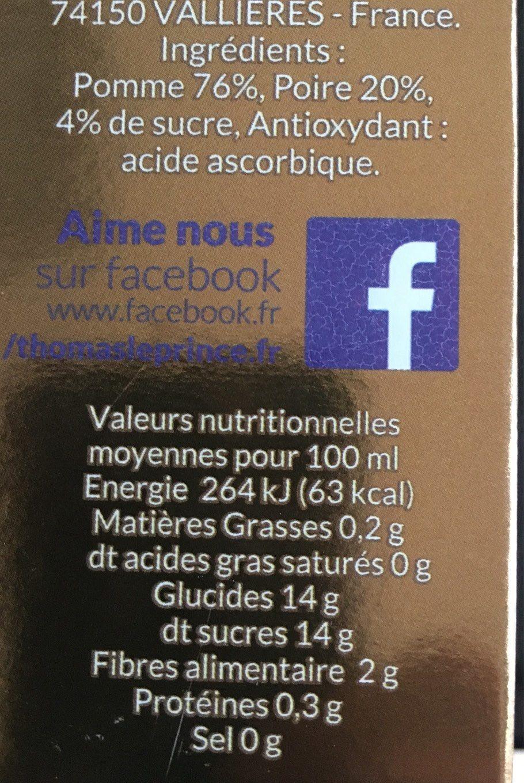 Pomme et poire - Informations nutritionnelles - fr