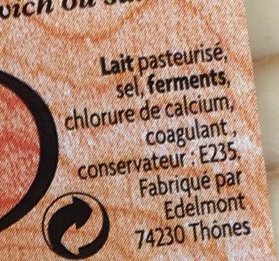 Fromage fumé au feu de bois (28 % MG) - Ingrédients - fr