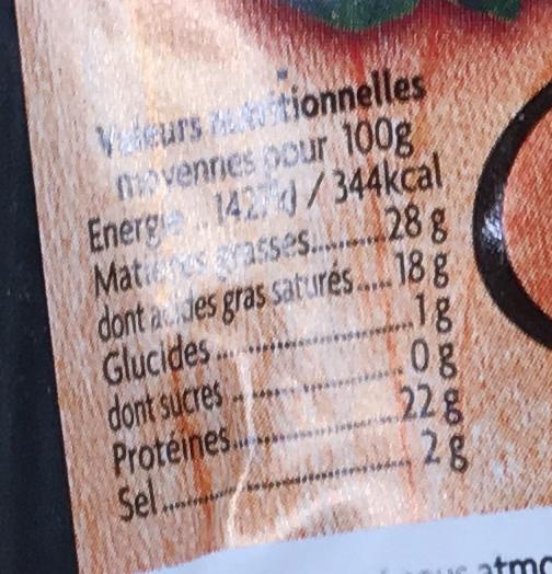 Fromage fumé au feu de bois (28 % MG) - Informations nutritionnelles - fr