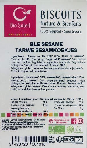 Biscuits Nature & Bienfaits - 100% Végétal - Sans levure - Blé & Sésame - Product