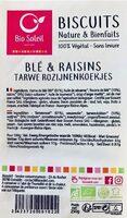 Biscuit nature et bienfaits blé raisins - Product - fr