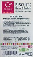 Biscuits Nature & Bienfaits blé avoine - Product