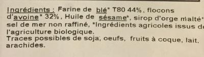 Biscuits Nature & Bienfaits blé avoine - Ingredients