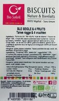 Biscuits Nature & Bienfaits Blé de seigle & 4 fruits - Produit