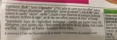 Madeleines du pâtissier 100% Épeautre - Ingredients