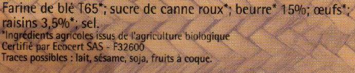 Sablés Raisins - Pur beurre - Ingrédients