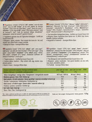 Barre Chocolat, Noisette et Raisin - Nutrition facts