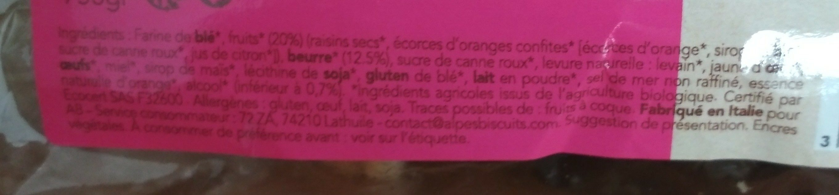 Panettone traditionnel pur beurre - Ingredients - fr
