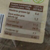 Epicerie / Epicerie Sucrée / Gâteaux, Biscuits, Encas - Nutrition facts - fr
