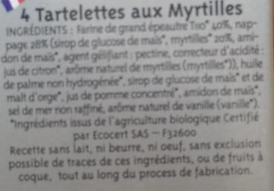 4 Tartelettes Myrtilles Épeautre - Ingredients