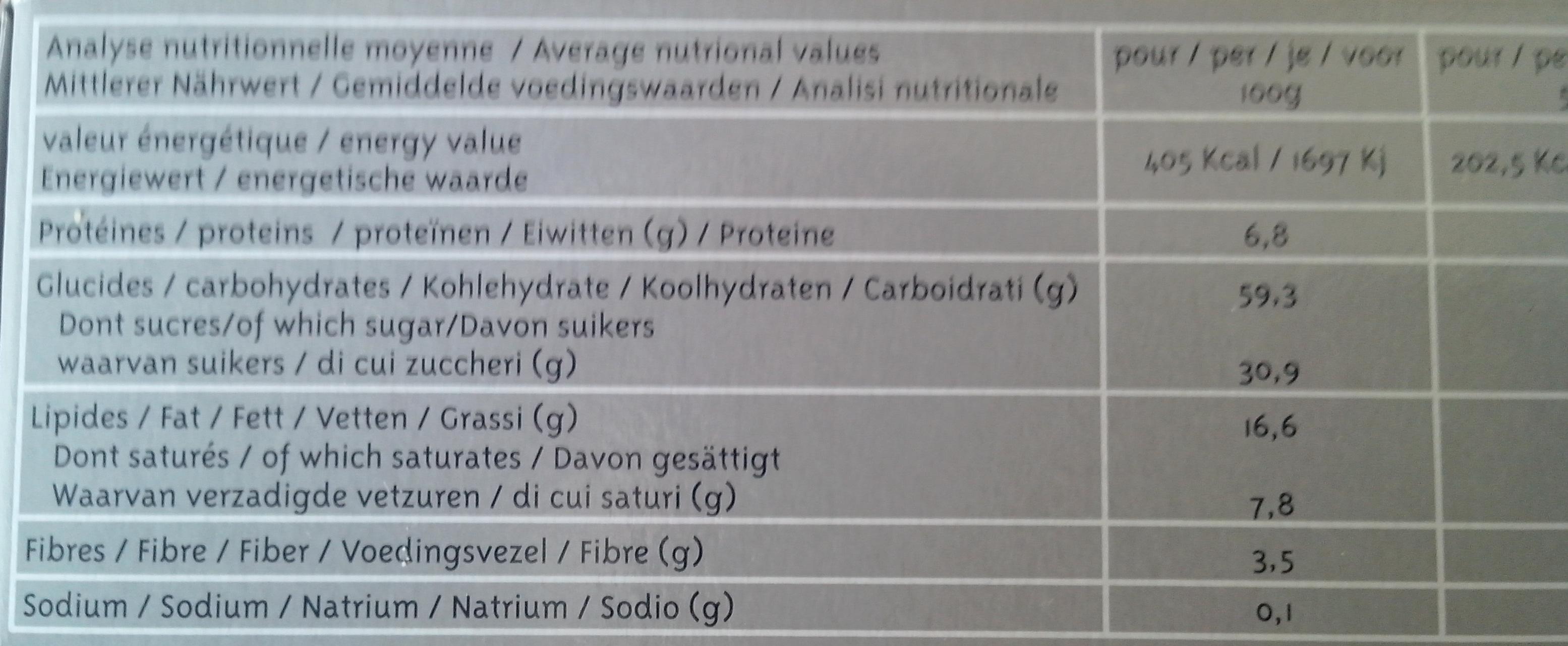4 Tartelettes Myrtilles Épeautre - Nutrition facts