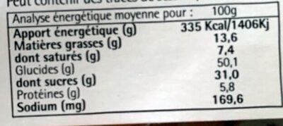 Cake aux fruits pour beurre - Voedingswaarden