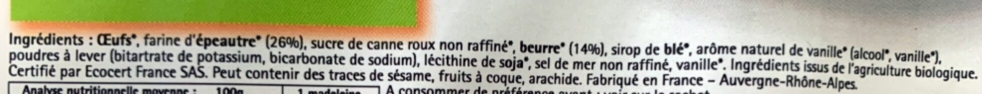 Madeleines Bio Pur Beurre 100% Farine D'épeautre - Ingrédients