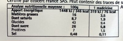 Madeleines Bio Pur Beurre 100% Farine D'épeautre - Informations nutritionnelles