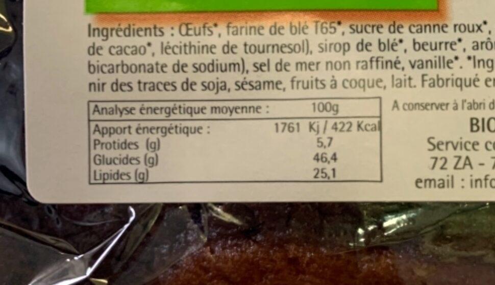 Marbré au chocolat équitable - Informations nutritionnelles