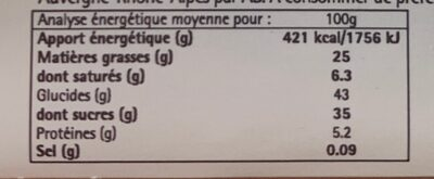 Fondant chocolat - Nutrition facts - fr