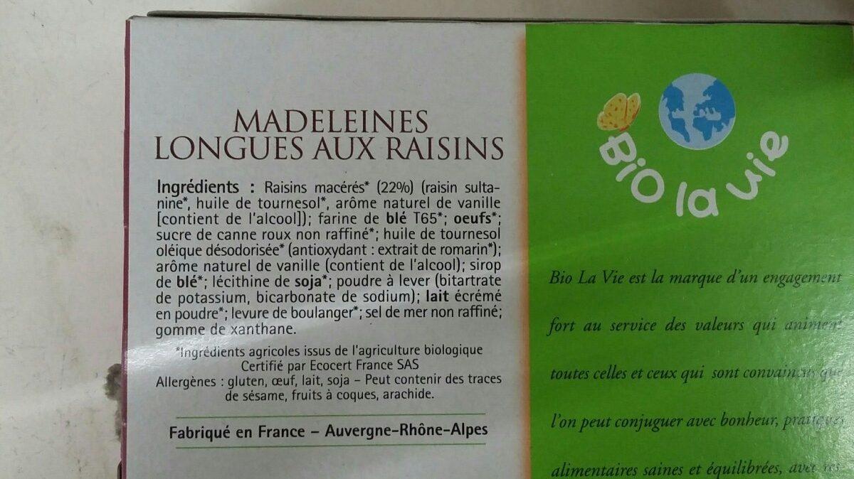 Madeleines Longues Au Raisin