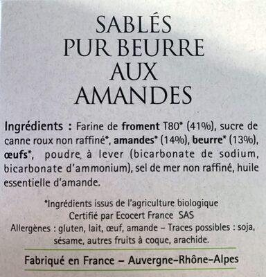 Sablés Pur Beurre aux amandes - Ingredients - fr