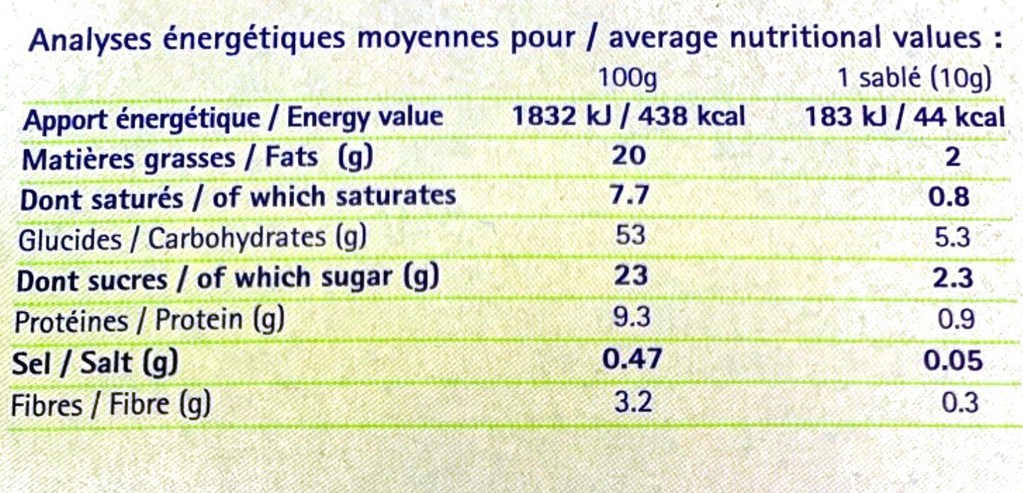 Sablés Pur Beurre aux amandes - Nutrition facts - fr