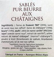 Sablés Pur Beurre Aux Châtaignes - Ingrédients