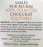Sablés pur beurre au chocolat - Ingrédients