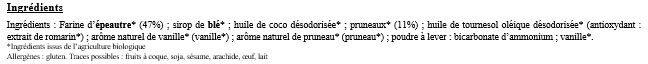 Palets Aux Pruneaux - Ingrédients - fr