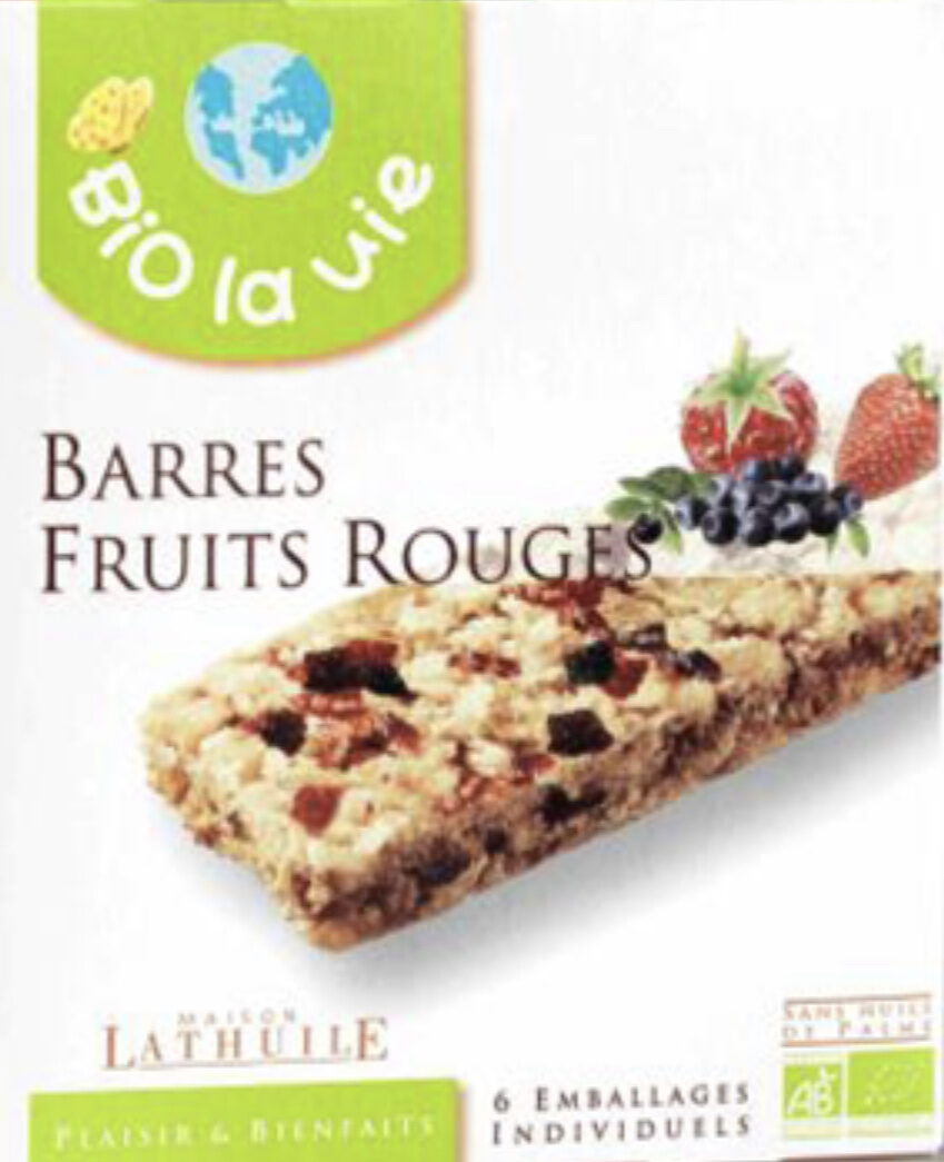 Barres Bio Fruits Rouges - Ingredients - fr