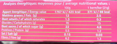Barres Bio Fruits Rouges - Nutrition facts - en