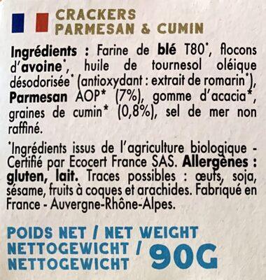 Mybioscore Parmesan & Cumin - Ingrédients