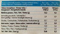 Mybioscore Parmesan & Cumin - Informations nutritionnelles