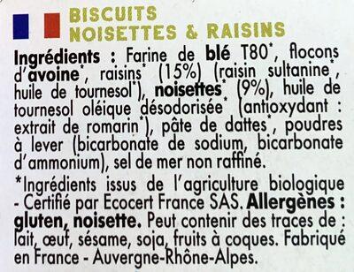Mybioscore Noisettes Raisins - Ingrédients