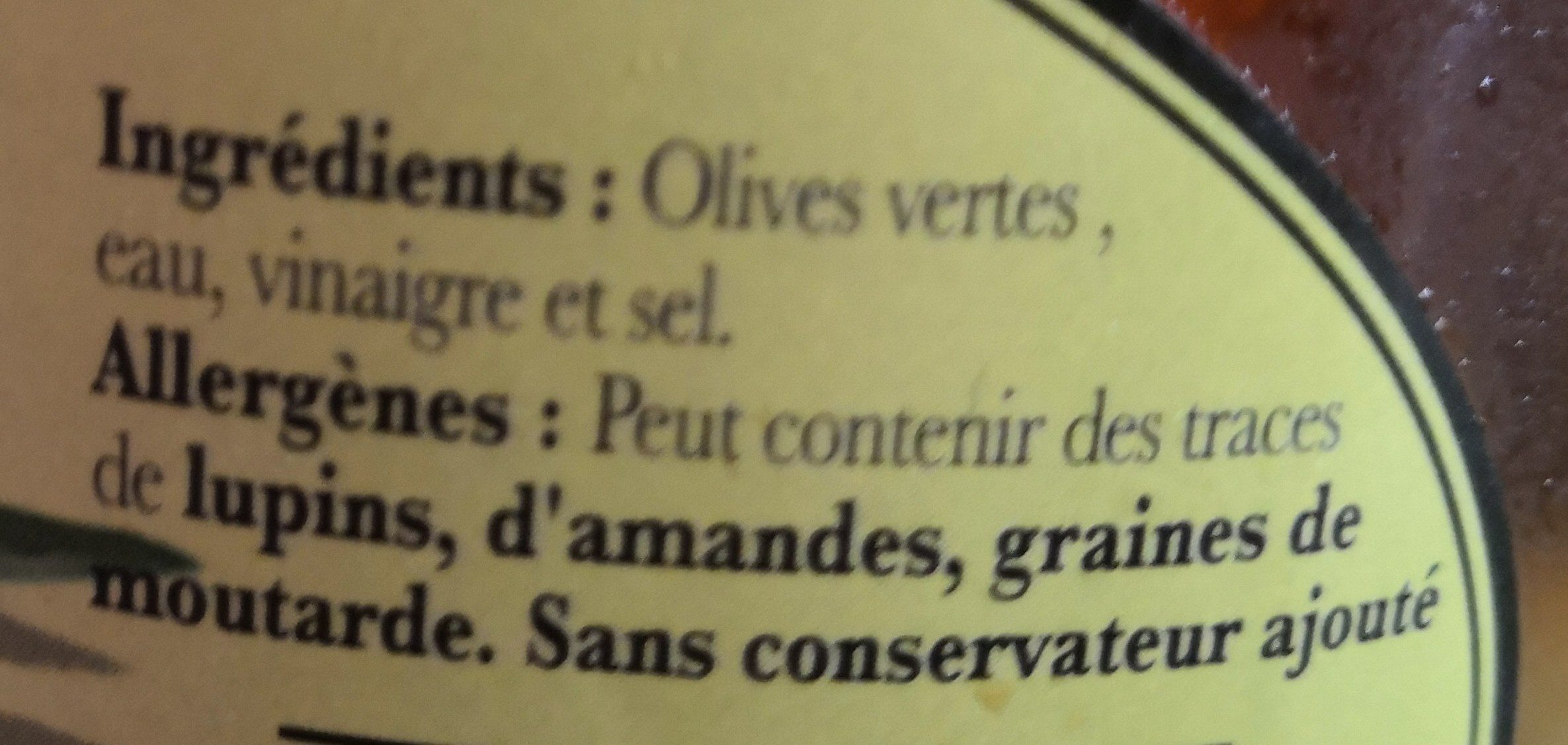 Olives vertes - Ingredients - fr