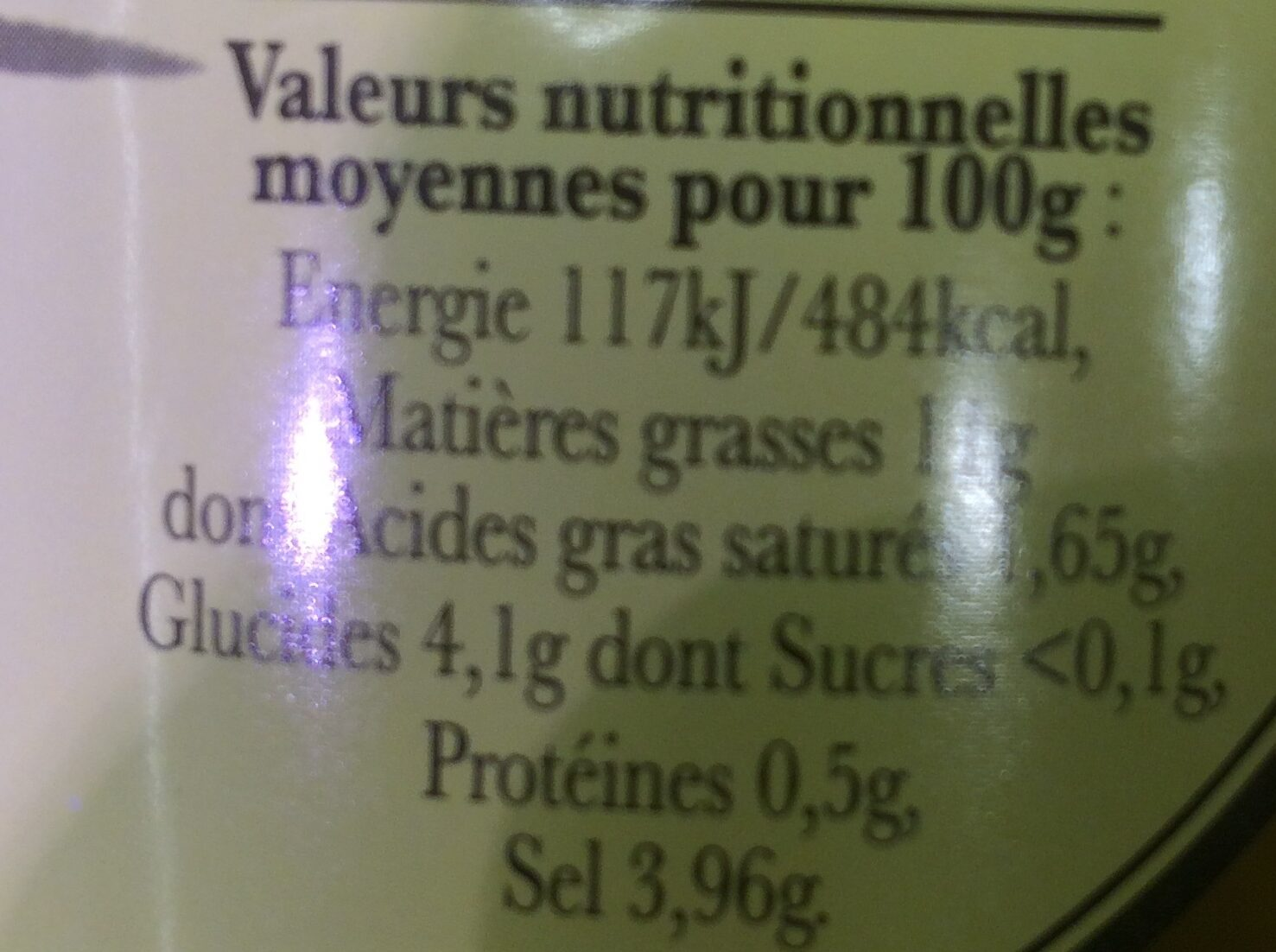 Olives vertes - Nutrition facts - fr