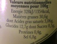 Olives noires façon Grèce - Nutrition facts - fr