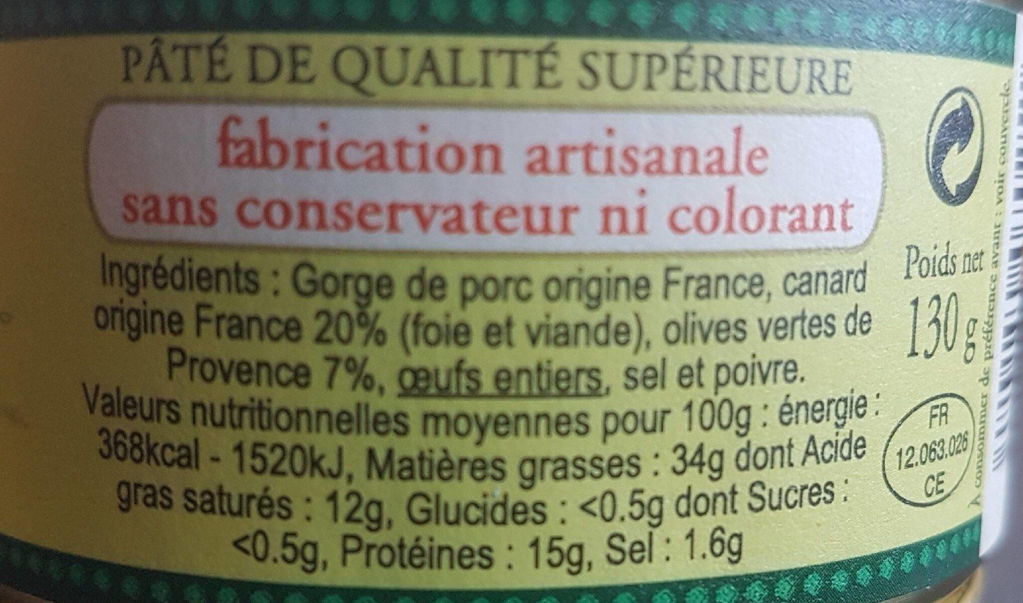 Terrine de canard aux olives de Provence - Informations nutritionnelles - fr