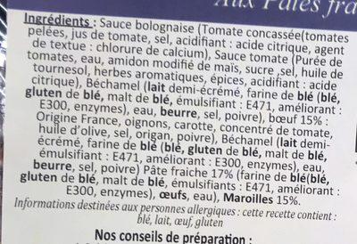Lasagne gratinée au Maroilles aux pâtes fraîches - Ingrédients