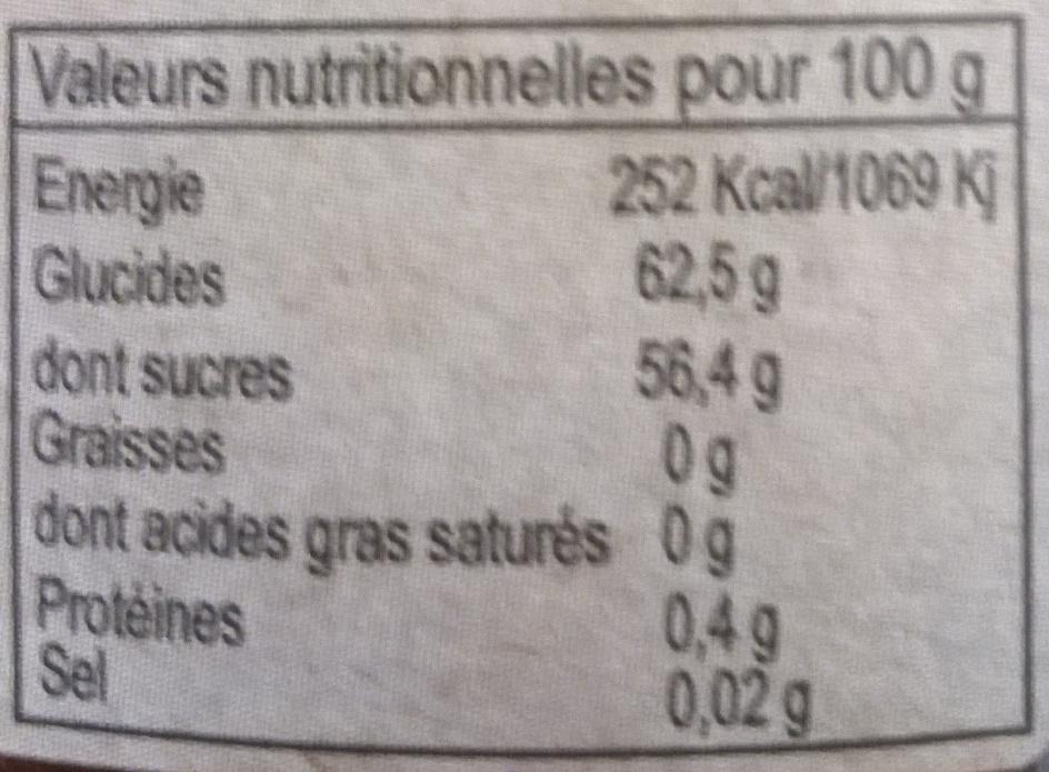 Confiture fraise clémentine - Informations nutritionnelles - fr