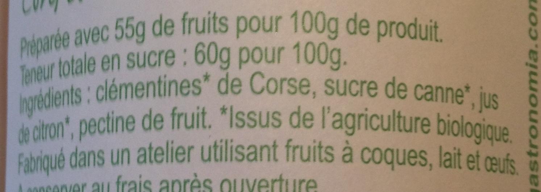 Confiture Extra Bio de Corse Clémentine - Ingrédients - fr