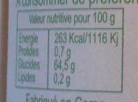 Confiture Extra Bio de Corse Clémentine - Informations nutritionnelles - fr