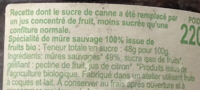 Confiture Mûre Sauvage - Ingredients - fr