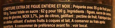 Confiture extra de Corse - figue entiere et noix - Ingrédients