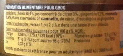 Grog miel coup de froid - Ingrediënten