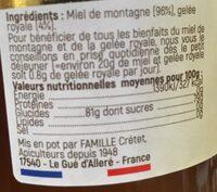 Spécialité à base de miel de montagne et gelée royale - Ingredients - fr