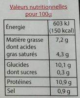 Morbiflette au jambon fumé cuit dans le Haut-Doubs - Informations nutritionnelles - fr