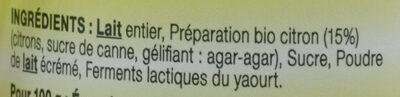 Yaourt entier citron LE PETIT VERSAILLAIS - Ingredients - fr