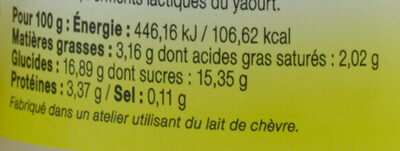 Yaourt entier citron LE PETIT VERSAILLAIS - Nutrition facts - fr