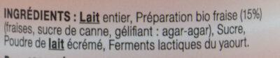Yaourt au lait entier bi-couche fraise LE PETIT VERSAILLAIS - Ingredients - fr