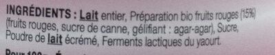 Yaourt fruits rouges LE PETIT VERSAILLAIS - Ingrédients - fr