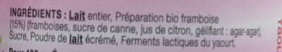 Yaourt entier framboise LE PETIT VERSAILLAIS - Ingrédients - fr